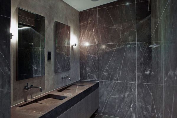 Luxury Bathroom Design Ideas with Marble Wall and Modern Sink